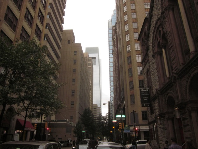 Looking north on 17th Street, towards Liberty Place and the Comcast Center, from Sansom