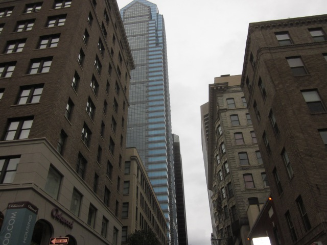 Looking north up 16th Street, at Two Liberty Place which includes the Residences at Two Liberty, a half block from The Sansom