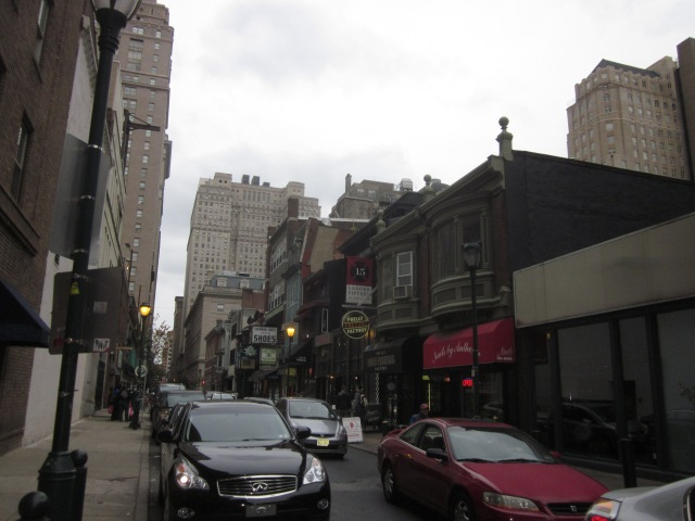 Looking at the diverse mix of retail along the 1500 block of Sansom Street, to the east of The Sansom