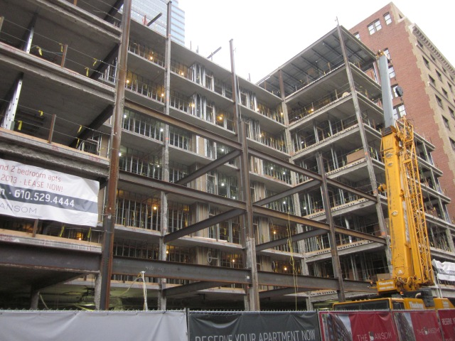 The Sansom, from the front, with the part of the structure on Sansom Street being completed