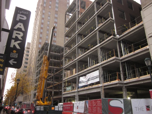 The Sansom, looking west showing the front portion being completed