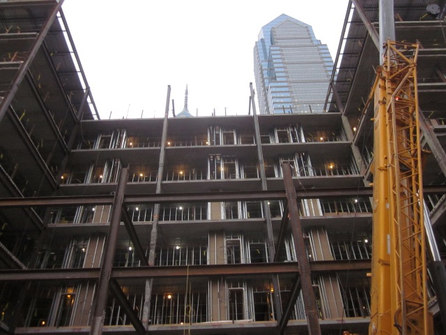 View of Liberty Place rising up behind The Sansom
