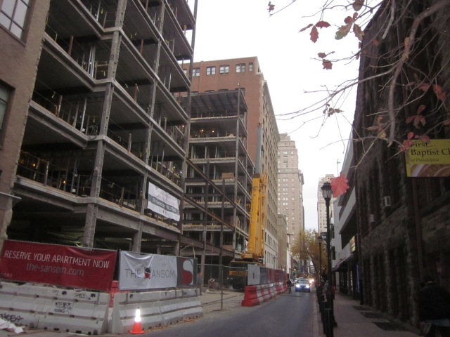 Looking towards the east down Sansom Street