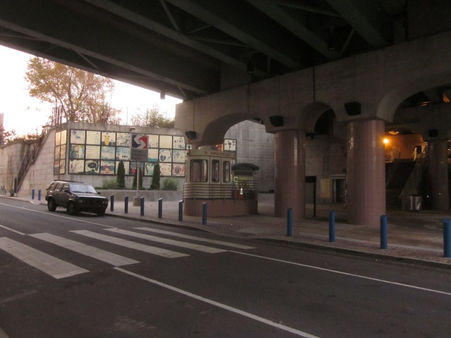Underneath the Temple regional rail station on Berks Street