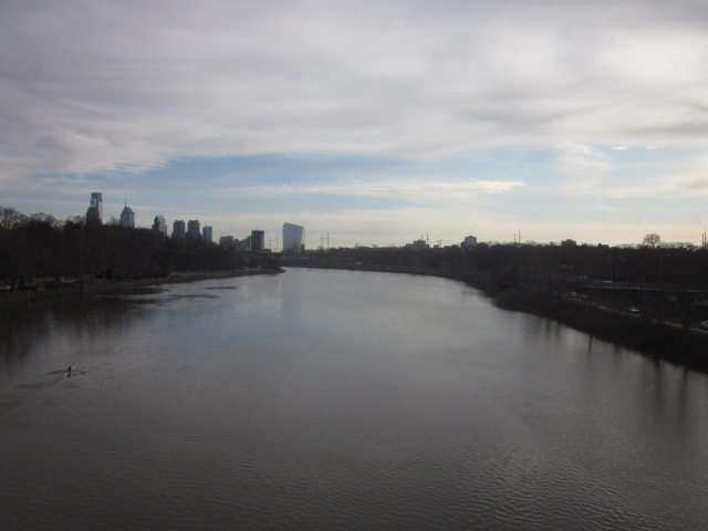 Looking down the Schuylkill River from the Girard Avenue Bridge