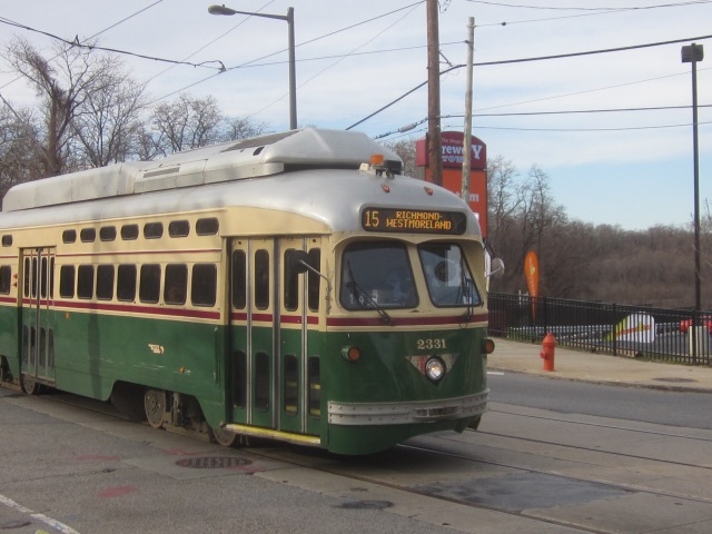 Route 15 trolley runs along Girard Avenue