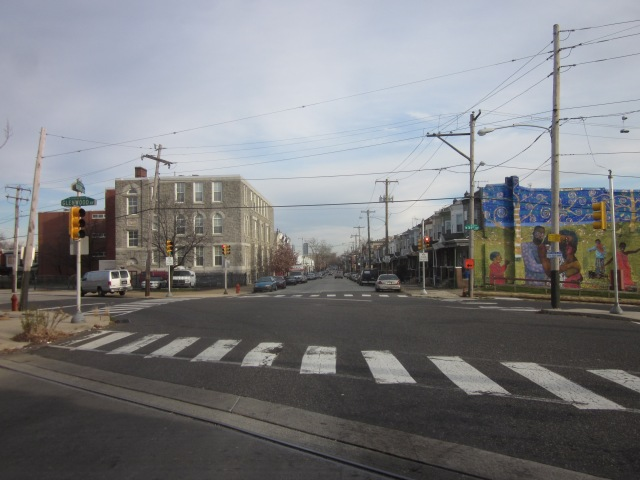 Looking east down Oxford Avenue towards Temple University