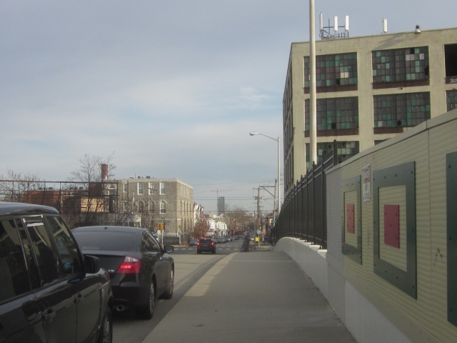 Looking east down Oxford Avenue at Temple's new Morgan Hall, from the bridge