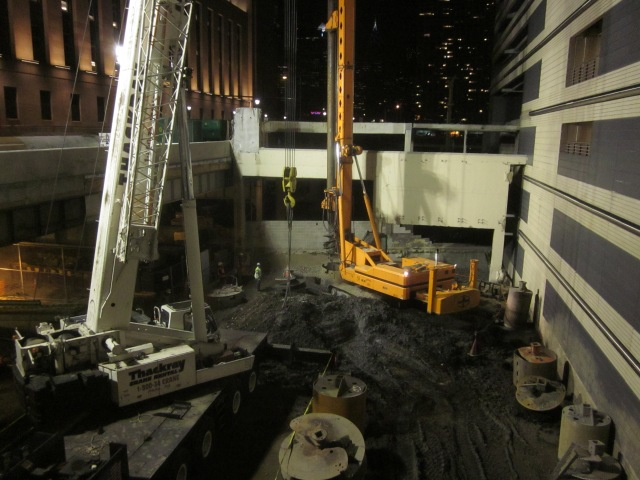 Drill being positioned at construction site