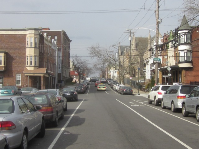 Looking north up 43rd Street, toward Drexel's Vidas Athletic Field