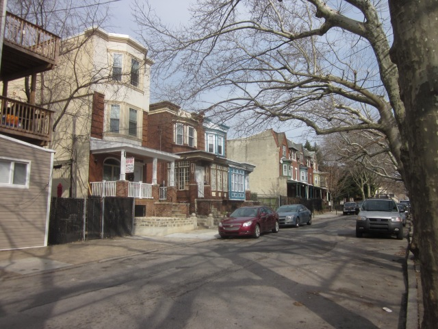 Homes on the 4200 block of Sansom Street, across from the new building