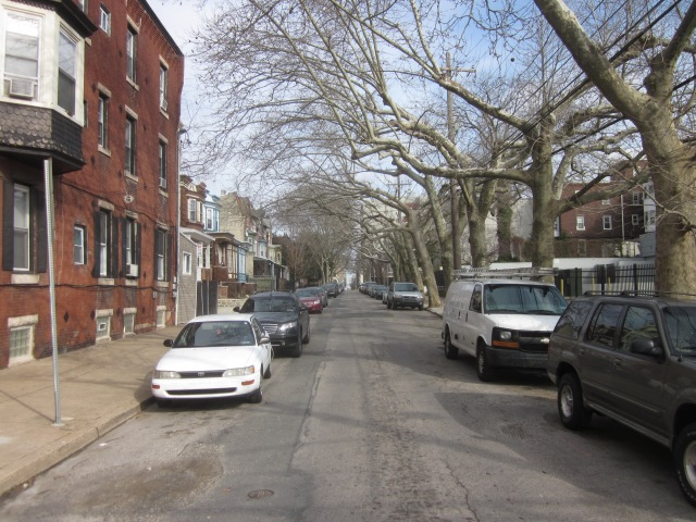 Looking east on Sansom, with Homewood Suites visible in background