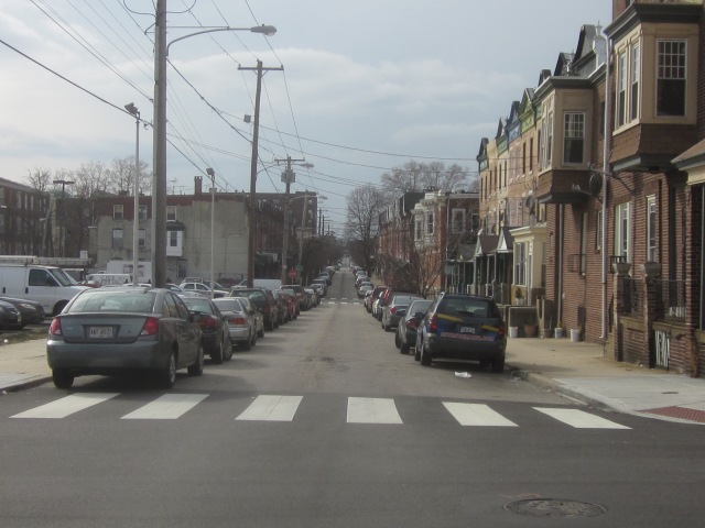 Looking west down Sansom