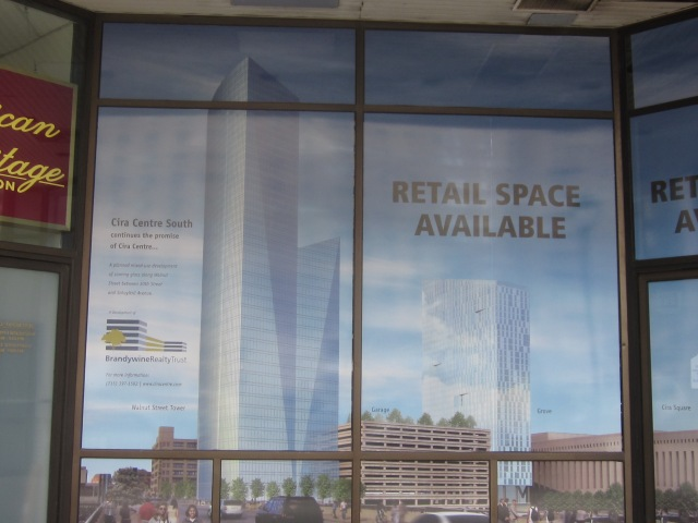 Close up of the Cira South towers, as seen on 1900 Market Street building