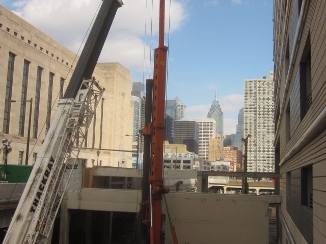 Center City skyline behind construction equipment