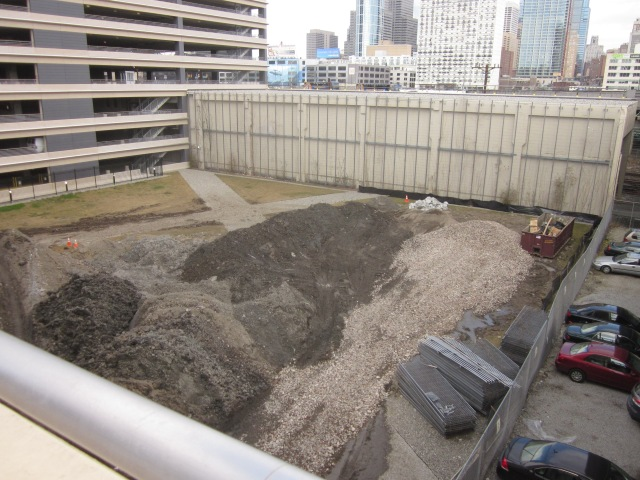 Future construction site for the Walnut Street tower, currently holding dirt from the Chestnut Street site