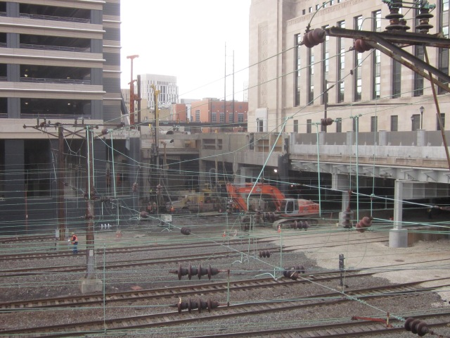 Construction of The Grove at Cira Centre South behind the railroad tracks for SEPTA and Amtrak