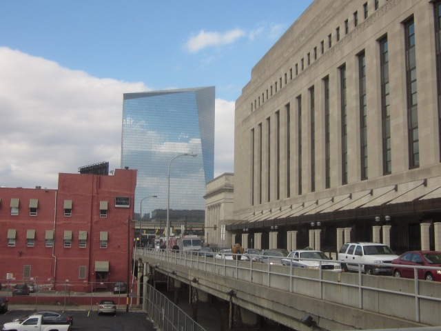 Looking north towards Cira Centre I, next to 30th Street Station