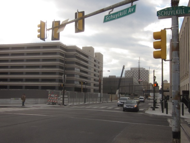 Intersection of Chestnut Street and Schuylkill Avenue, where Cira Square will be, and Chestnut Square visible in the background