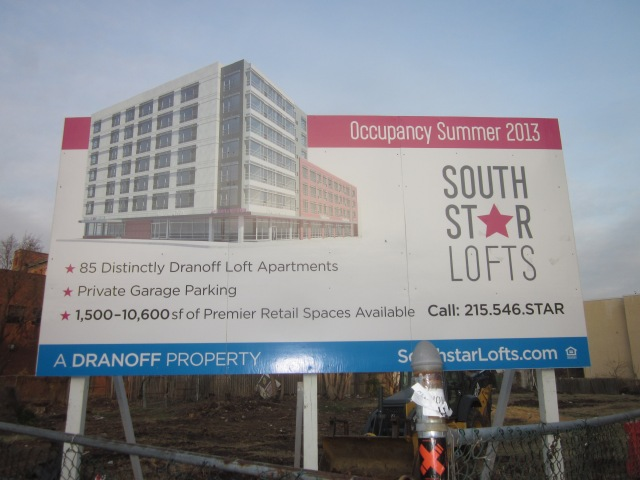Sign announcing Southstar Lofts