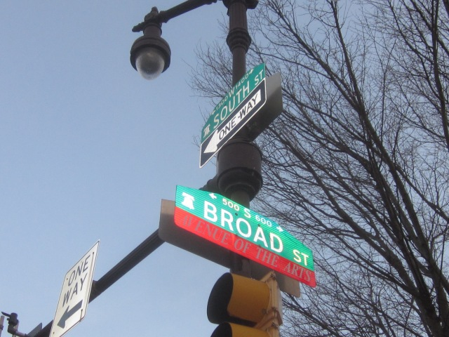 Broad and South street signs on decorative lamppost