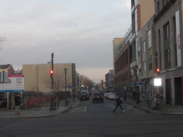 Looking east on South Street, with 1352 Lofts on the right