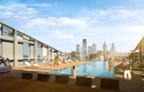 Rendering of the view from the rooftop pool of The Grove at Cira Centre South