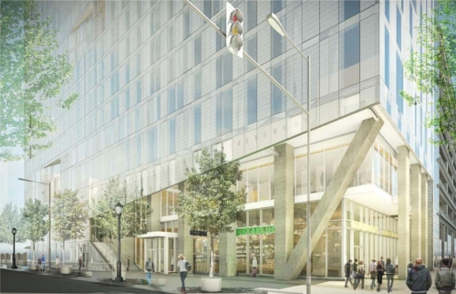 Rendering of the retail, and lobby, at 30th & Chestnut Streets