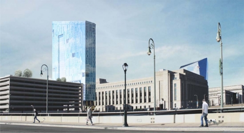 Rendering of The Grove at Cira Centre South, from the Walnut Street Bridge to the south of the building