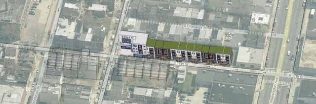 Aerial rendering of Carpenter Square shows where future development might occur