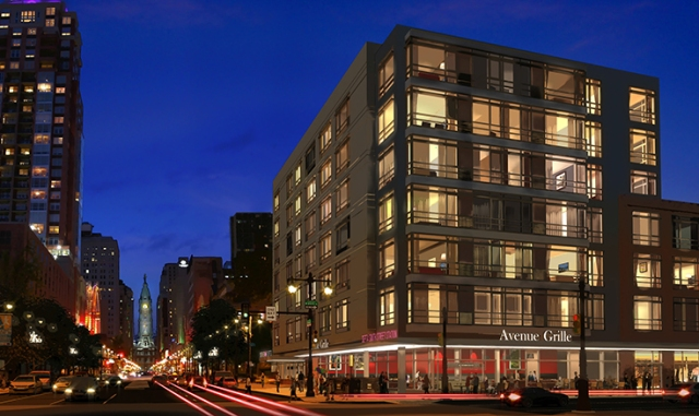 Rendering of Southstar Lofts at night