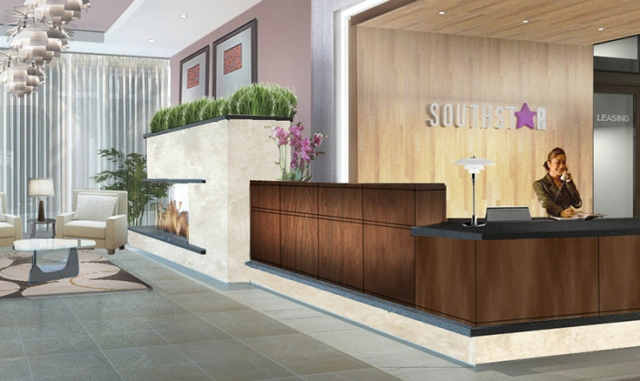 Rendering of the lobby of Southstar Lofts