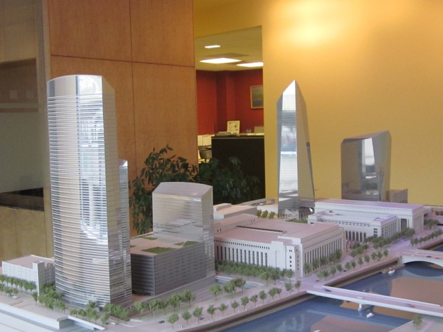 Model of entire Cira Centre development, with outdated design for Chestnut Street tower
