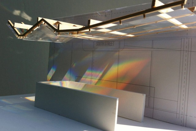 "Rendering of ""Light Play"" artwork, over the subway entrance"