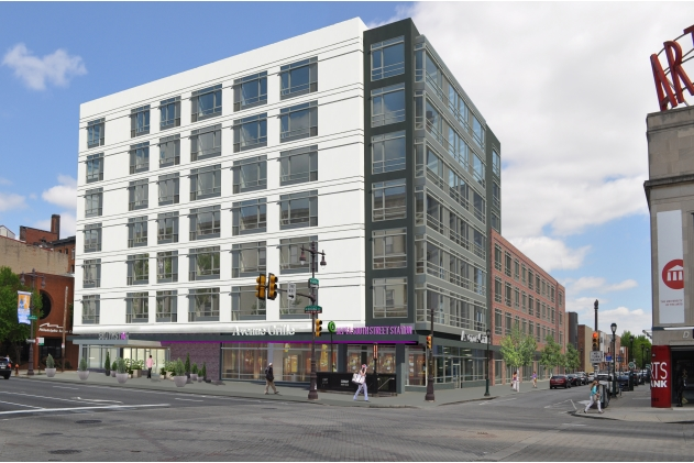 Rendering of Southstar Lofts showing Broad Street and South Street sides