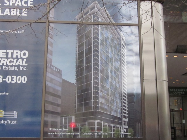 Rendering of 1919 Market Street apartment tower, which will be around the corner from 2021 Chestnut Street, at 20th & Market Streets