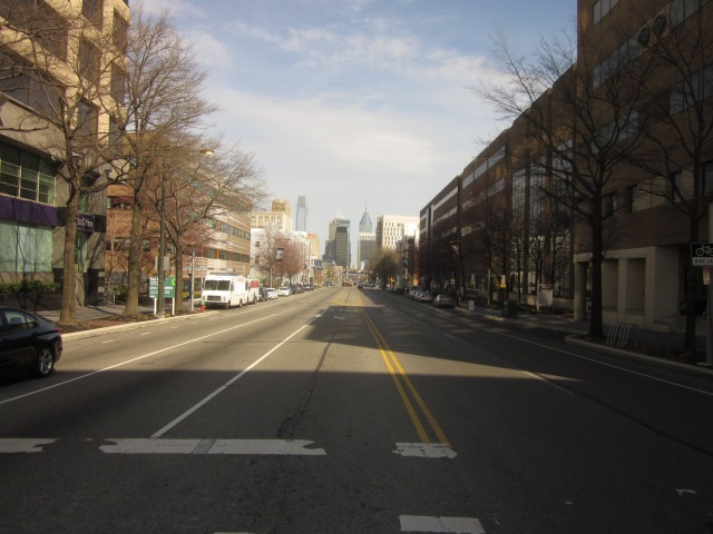 Looking east, on Market Street, towards Center City