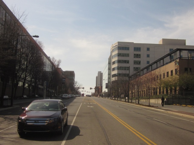 Looking west on Market Street, towards the site of future Science Center buildings at 38th Street