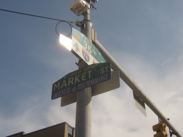 "Street sign, @ 36th & Market, denotes that Science Center stretch of Market Street is the ""Avenue of Technology"""