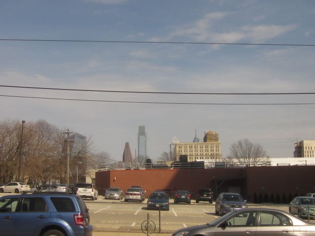 Parking lot on the east side of 36th Street, shows view of Center City skyline