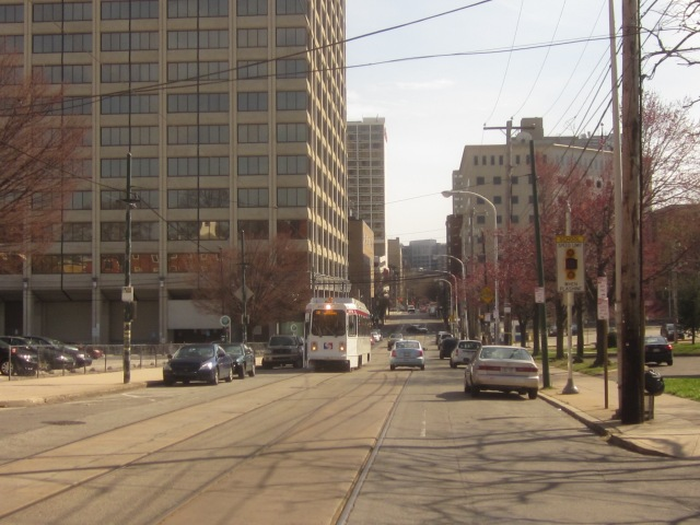 Route 10 trolley going north on 36th Street, passing by 3601 Market Street