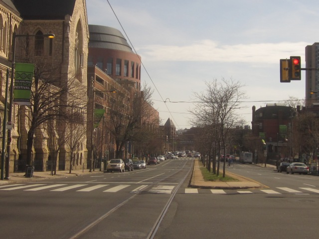 Looking south down 38th Street, from Chestnut Street, towards Wharton School buildings and University City Medical Campus