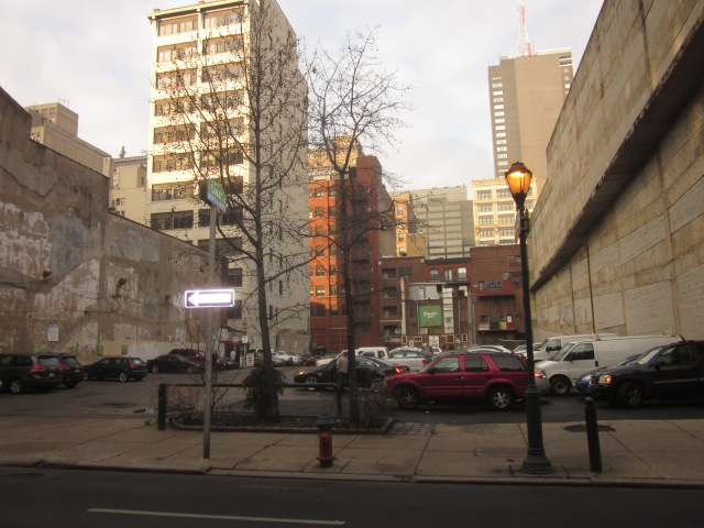 Future site of 1213 Walnut Street tower, from Walnut Street