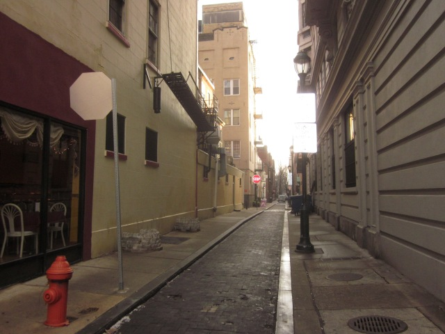 "Looking south on Camac Street, the ""Avenue of the Artists"", across Walnut Street from 1213 Walnut Street"