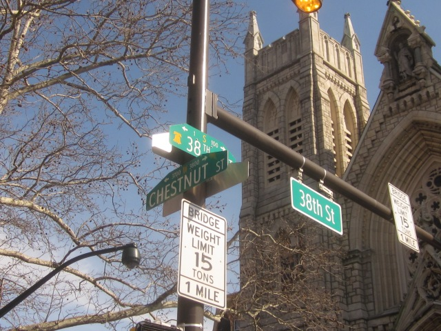 Street signs at 38th & Chestnut Streets