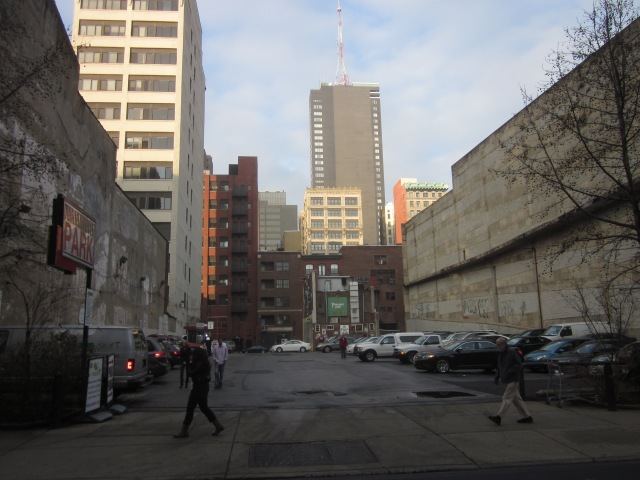 Site of 1213 Walnut Street tower with the PSFS Building (Loews Hotel) in the background