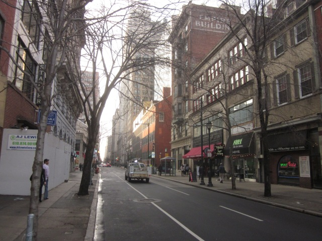 Looking west on Walnut Street, from 1213 Walnut Street