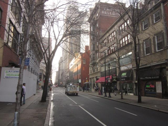 Looking west on Walnut Street, from 1213 Walnut Street