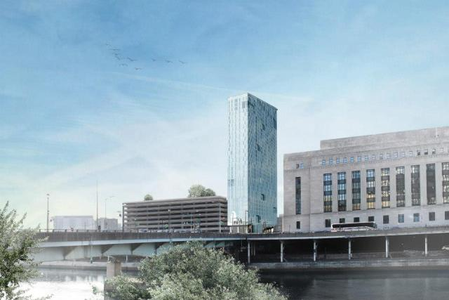 Rendering of The Grove at Cira Centre South apartments, under construction a few blocks west of 2021 Chestnut Street