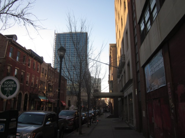 2116 Chestnut Street apartment tower, just west of 2021 Chestnut Street in the foreground